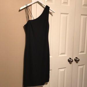 Reversible Black/Tan asymmetrical cocktail dress
